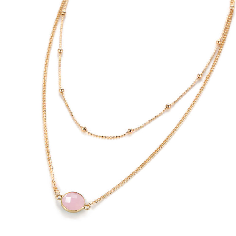 collier fantaisie rose