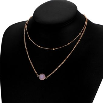collier fantaisie rose pierre