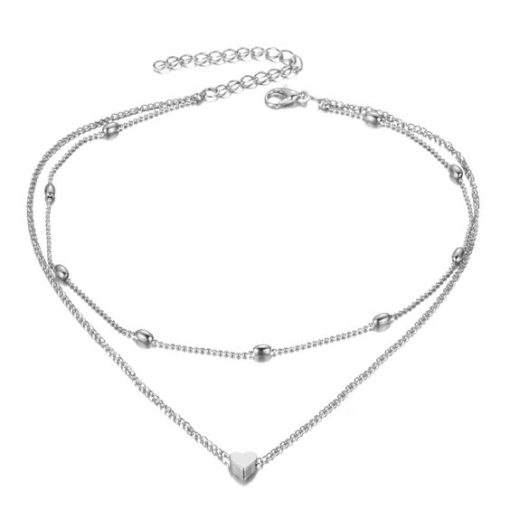 collier multirang coeur