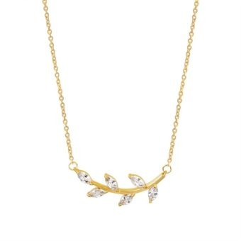 collier feuille or swarovsk