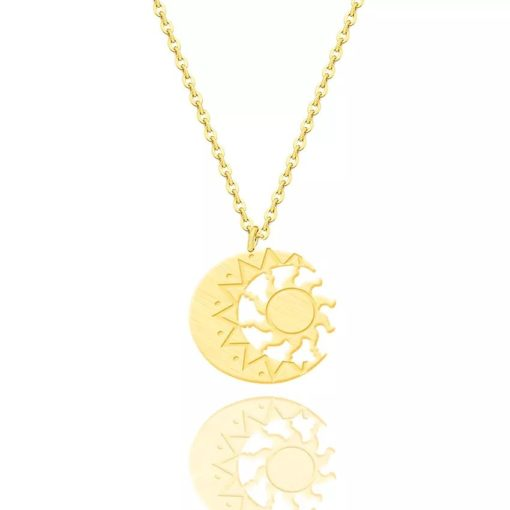 collier lune plaque or