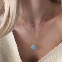 Collier multirang pierre bleu fait main
