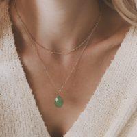 Collier pierre verte fait main