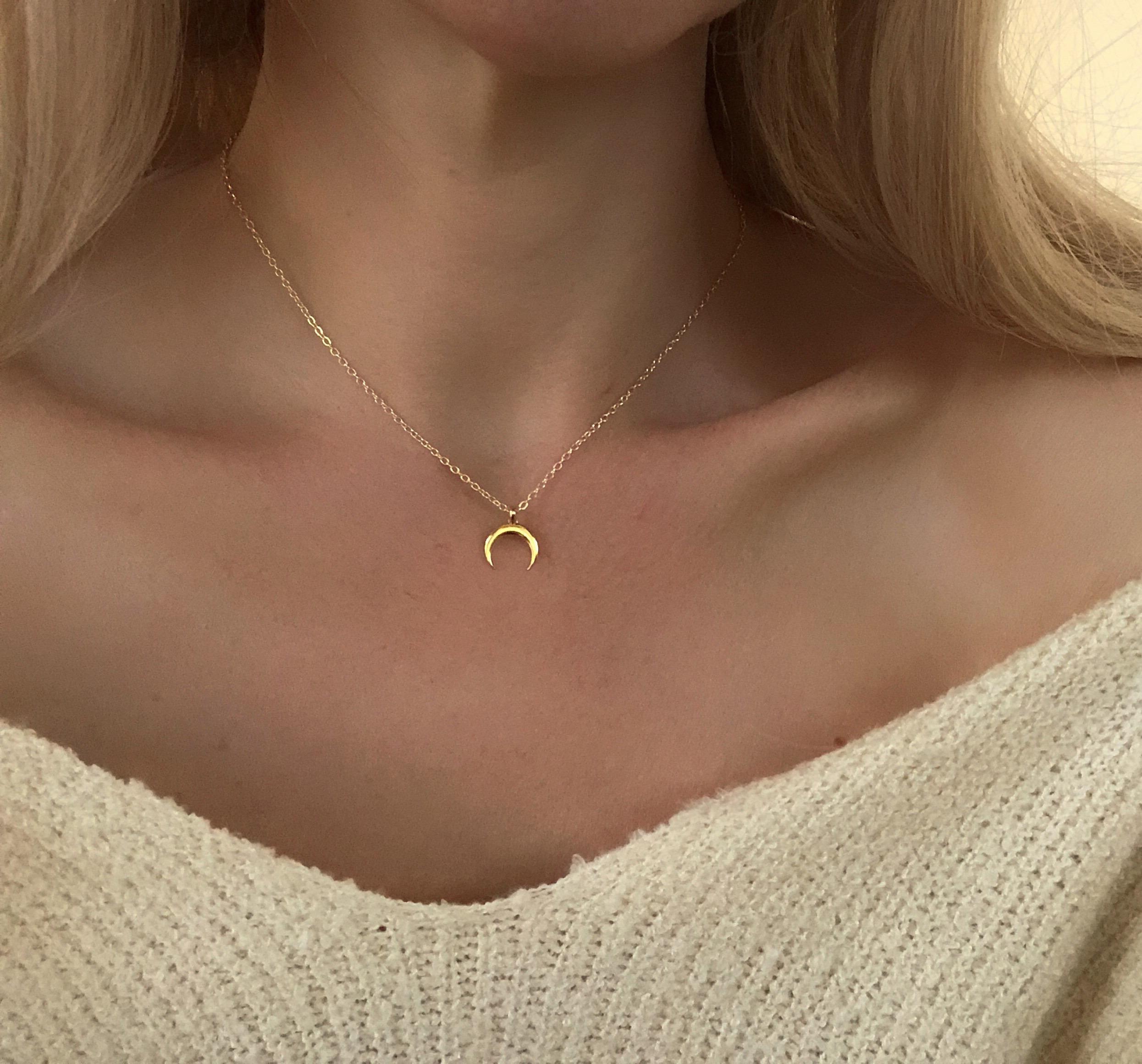 collier lune en or