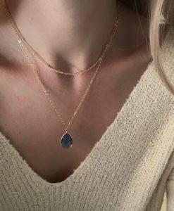 collier createur pierre bleu
