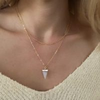 collier quartz rose fait main