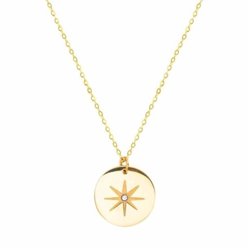 Collier tendance 2020- medaille plaque or