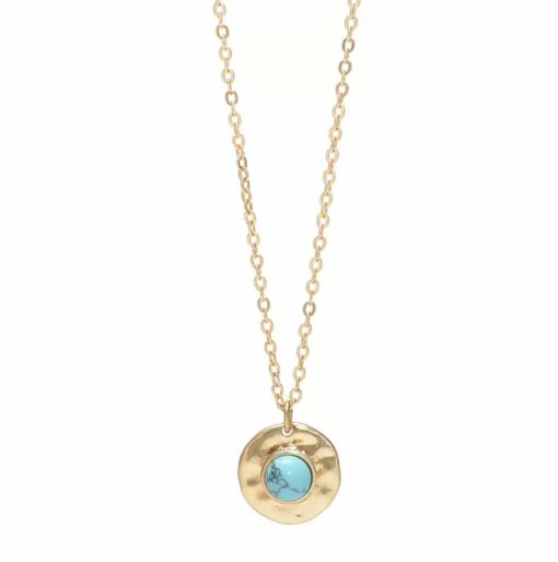 collier medaille turquoise