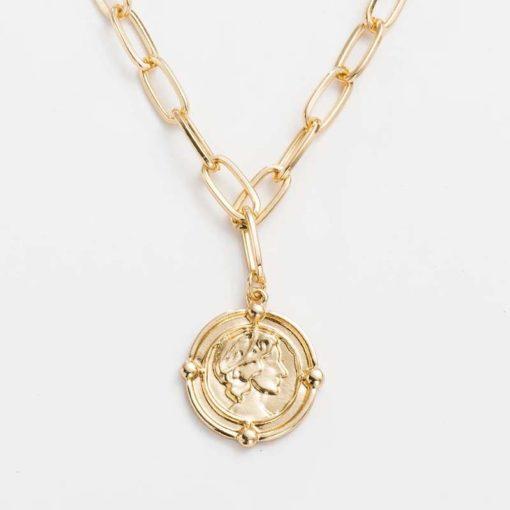 collier tendance 2020- medaille doree