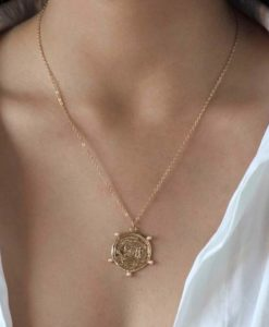 collier tendance 2020- medaille originale